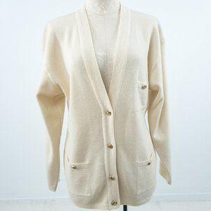 Vintage 80s L Merino Wool Cardigan Sweater Cream
